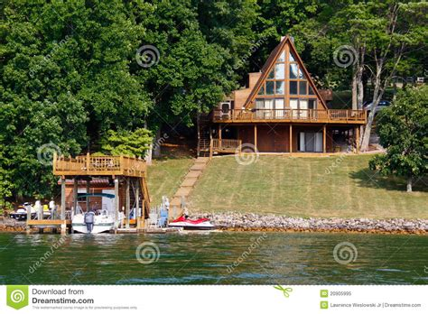Aframe House On Water With Boats Stock Image Image