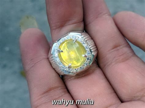 Mata Kucing Yellow 4 batu cincin yellow opal cat eye asli kode 786 wahyu mulia