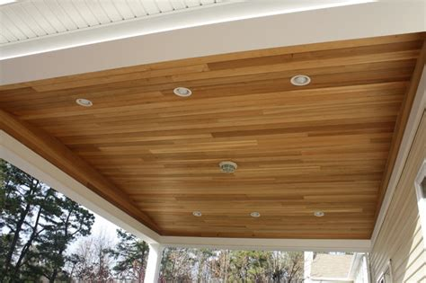 diy deck ceiling deck 50x25 w 20x20 overhang with cedar ceiling
