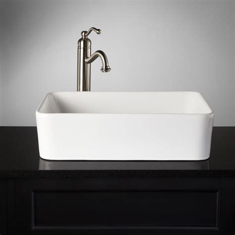 bathroom vanity with sink and faucet blanton rectangular porcelain vessel sink vessel sinks