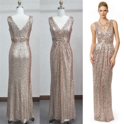 Sheath V Neck Long Champagne Sequined Evening Prom Dress ...