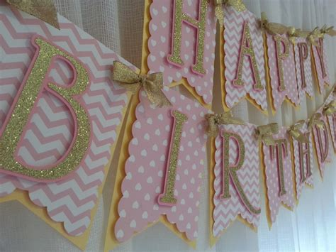 pink and gold happy birthday banner birthday banner pink and