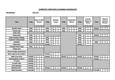 Domestic Cleaning Schedule Template by 9 Cleaning Schedule Sles Sle Templates