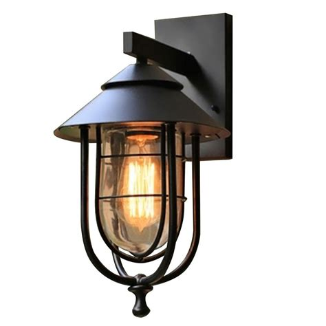 home decorators collection 1 light sand black small outdoor wall sconce with clear glass