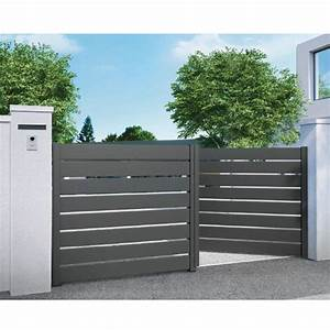 Cloture Aluminium Castorama : good beautiful portail gris alu with cloture aluminium ~ Melissatoandfro.com Idées de Décoration