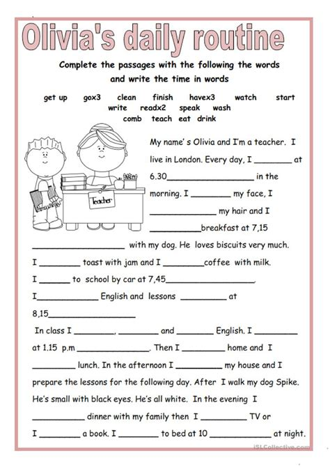 olivias daily routine english esl worksheets