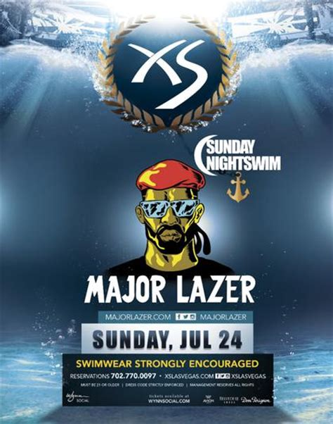 Xs Nightswim Dress Code Major Lazer Nightswim At Xs Nightclub On Sunday July 24