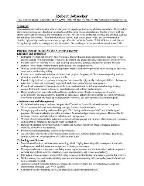 high school resume sle primary school teachers resume