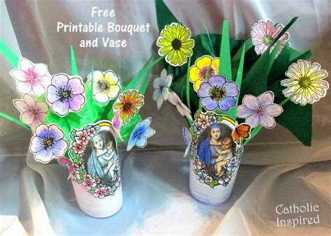 create  paper vase  bouquet   mother  mary