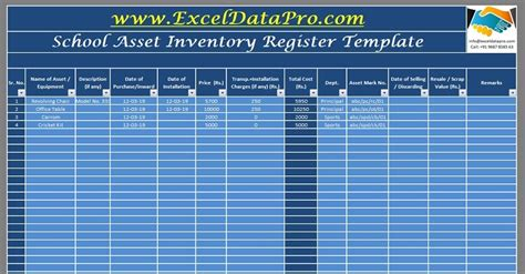 school assets inventory  issuance register