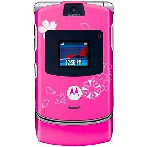 pink flip phone motorola razr v3 pink w flowers excellent used t mobile