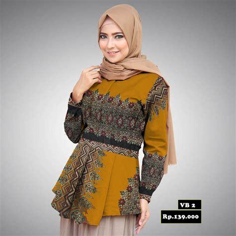 baju peplum batik prada modern warna kuning batik aqila