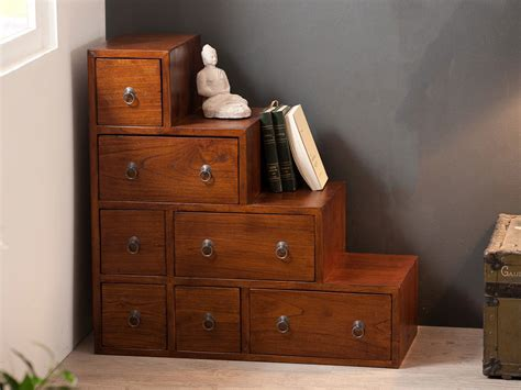 desserte bureau meuble escalier en bois 7 tiroirs l76xp34cm freesia