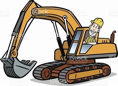 Excavator Cartoon Guy Clipart Equipment Vector Illustration