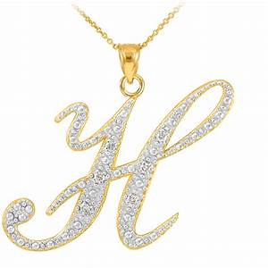 14k gold letter script quothquot diamond initial pendant necklace With gold letter h necklace