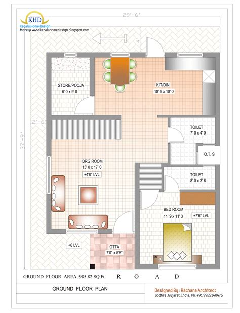 1000 Sq Ft House Plans 2 Bedroom Indian Style by Duplex House Plan And Elevation 1770 Sq Ft Kerala