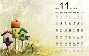 2013年11月清新淡雅主题日历桌面壁纸