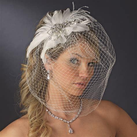 Vintage Feather Bridal Headpiece And Veil Elegant Bridal