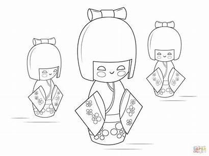 Kokeshi Coloring Dolls Pages Doll Printable Kachina