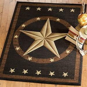 Texas Star Rug, Western Rustic Cowboy Black Brown Area Rug