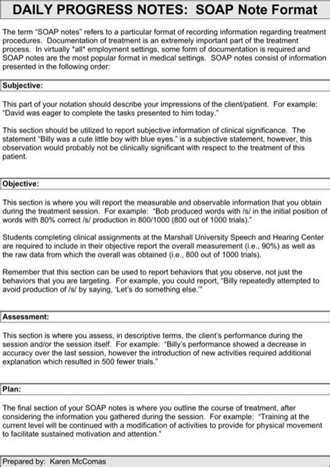 soap note format template soap note daily progress