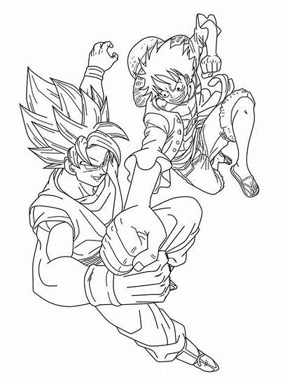 Goku Luffy Lineart Vegeta Dragon Coloring Pages