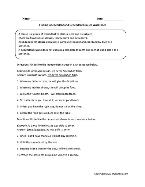 independent and dependent clauses worksheets englishlinx clauses worksheets