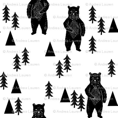 forest bear black  white woodland mountain trees