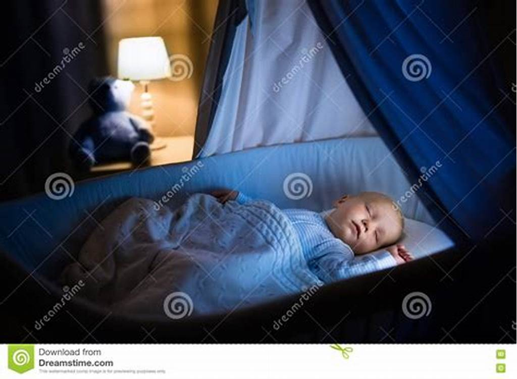 #Baby #Boy #Sleeping #At #Night #Stock #Photo