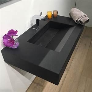 plan vasque salle de bain suspendu 81x46 cm pierre pizarra With salle de bain design avec plan vasque pierre
