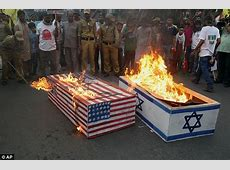 US and Israeli flags are burned in protests across the