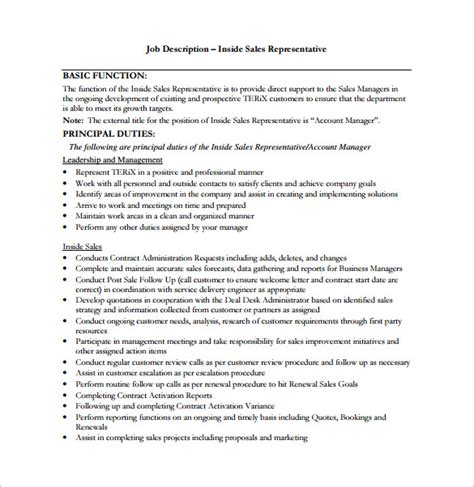 sales rep description doc sle cover letter for