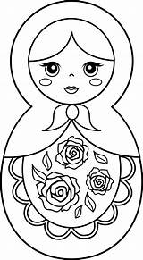 Pages Doll Coloring Russian Dolls Matryoshka Printable Nesting Clip Drawing Colouring Clipart Sweetclipart Easy Template Barbie Silhouette Kokeshi Babushka Cute sketch template