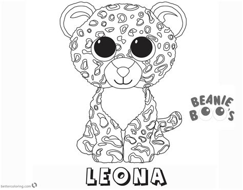Kleurplaat Beanie Boo by Beanie Boo Coloring Pages Leona Free Printable Coloring