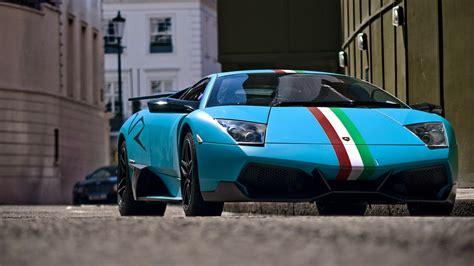 Blue Italian Striped Lamborghini Hd Wallpaper