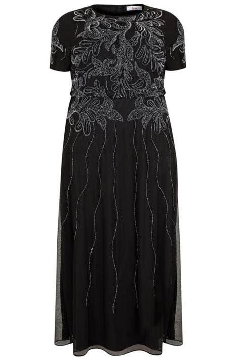 luxe black embellished maxi dress with ruched waist plus