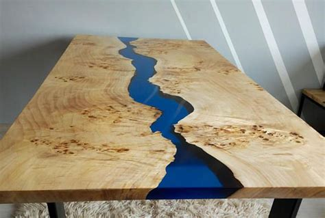 sold blue river table  epoxy inlay sold spanish