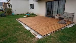 Comment Poser Des Dalles En Bois Sur Une Pelouse : construire sa terrasse sur de la terre meuble notre ~ Dailycaller-alerts.com Idées de Décoration