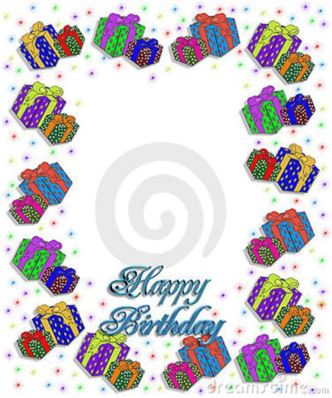 birthday presents border illustration stock  image