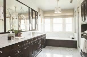 Chrome Framed Mirror by Bathroom With Espresso Cabinets Transitional Bathroom