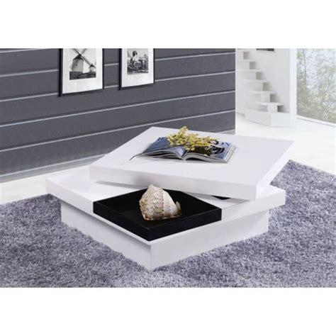 envie de meubles table basse carr 233 e turin laqu 233 e plateau pivotant pas cher achat vente