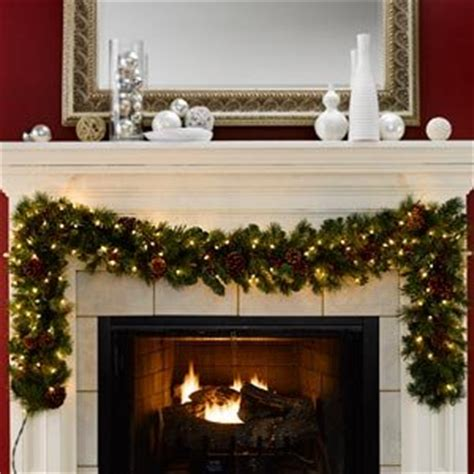 pre lit fireplace garland 2 7m 9ft pre lit artificial garland with clear lights co uk kitchen home