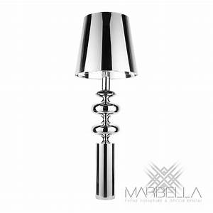 Floor lamp bastille silver marbella event furniture and for Chrome floor lamp with tapered shade silver
