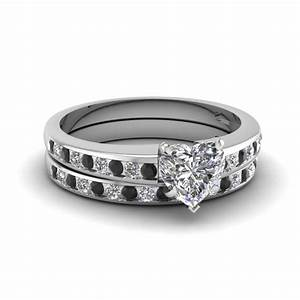 heart channel with black diamond wedding set in 14k white With wedding ring sets with black diamonds