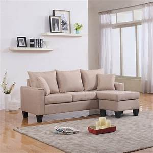 Modern fabric small space sectional sofa with reversible for Sectional sofa in a small room