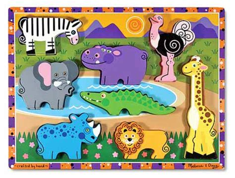 safari chunky wooden puzzle toddler toys melissa doug