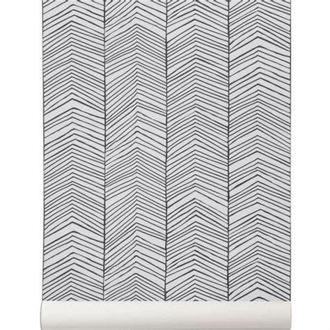 stickers bureau papier peint noir et blanc herringbone de ferm living