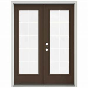 jeld wen 60 in x 80 in dark chocolate prehung right hand With 60x80 french doors