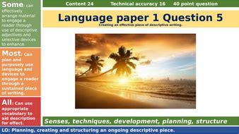 aqa language paper  question  creative descriptive writing task sunset teaching resources