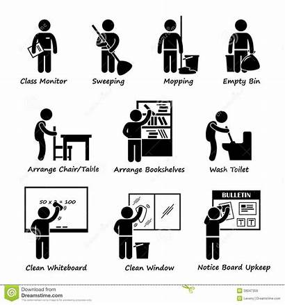 Roster Duty Classroom Clipart Student Vector Head
